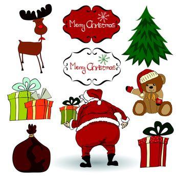 Christmas elements set isolated on white background