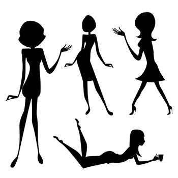 three cute fashion girls, black and white vector illustration isolated on white background
