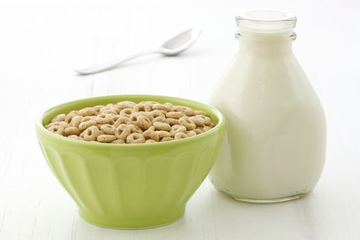 Delicious and nutritious lightly toasted honey, nuts and oats cereal with milk.