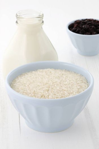 Delicious rice pudding ingredients, used to make one of the most famous and delicious desserts ever.