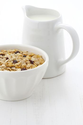 Delicious and nutritious lightly toasted breakfast muesli or granola cereal.