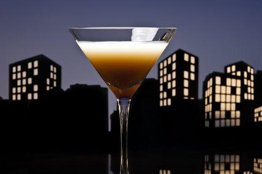 Metropolis Coffee Martini cocktail in skyline setting