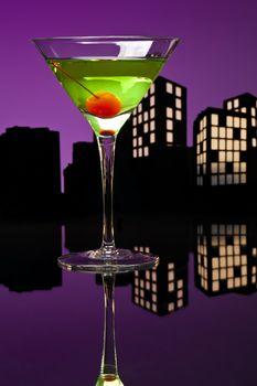Metropolis Apple Martini cocktail in skyline setting