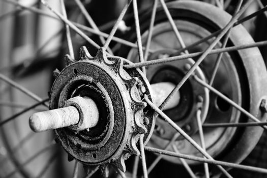 Close up part of old bicycle