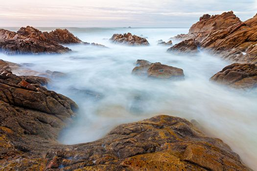 Long exposure photo of coastal view in the north of Portugal.