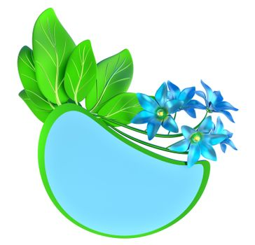 Green and blue form with leafs and flowers