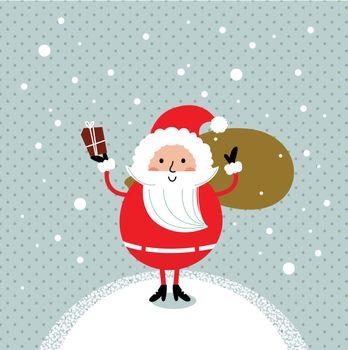 Happy Santa Illustration for christmas card. Vector