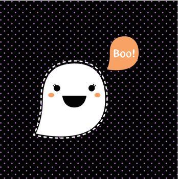 Kawaii Ghost for Halloween. Vector cartoon