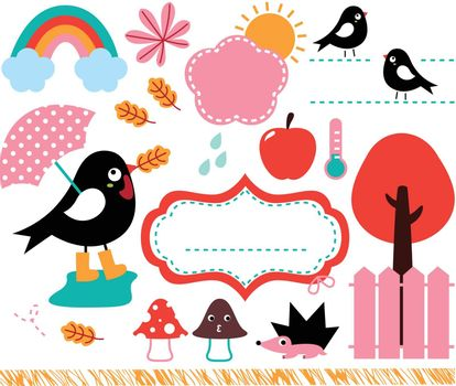 Swallow and rainy weather cartoon set. Vector