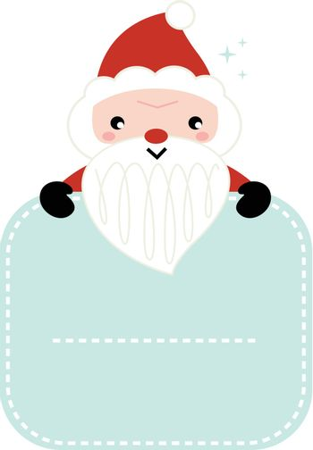 Christmas Santa holding blank banner with copy space. Vector Illustration