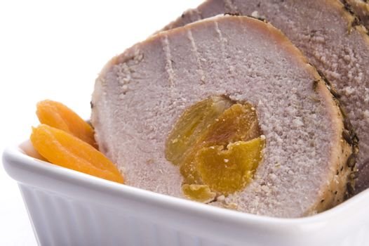 Roasted pork loin with dried apricots