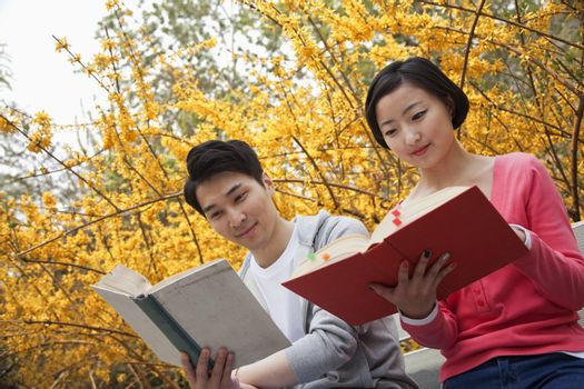 Young happy couple sitting on a park bench reading books, springtime in the park