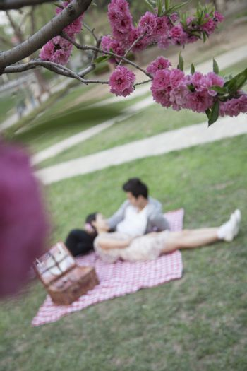Blossoms in the foreground and young couple lying on a blanket having a picnic blurred in the background
