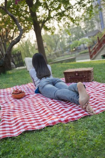 Young woman lying on her stomach on a checkered blanket and reading in the park, having a picnic