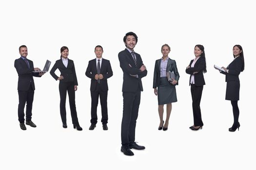 Medium group of business people in a row, portrait, full length, studio shot