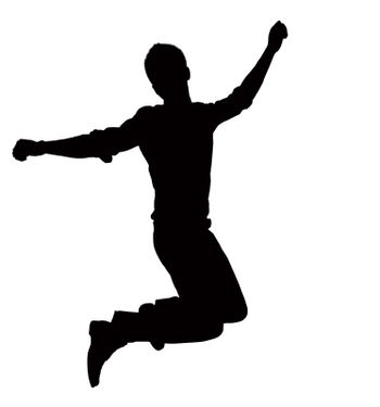 Silhouette of businessman jumping, mid-air.