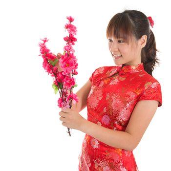 Chinese cheongsam girl decorate