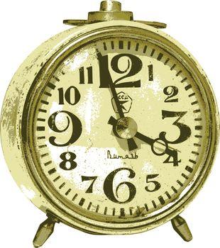 photorealistic, vector, traced illustration of alarm clock