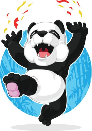 Panda Jumping in Excitement