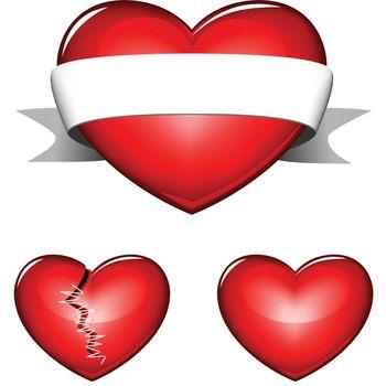 3 heart isolated
