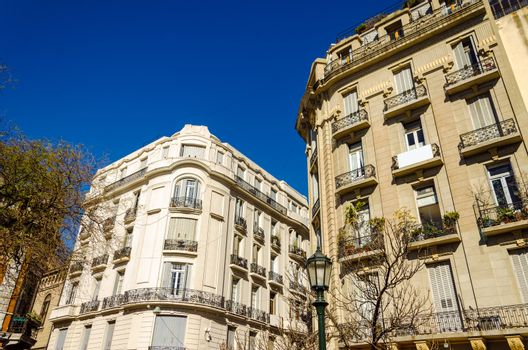 Old French style architecture in Recoleta neighborhood of Buenos Aires, Argetnina