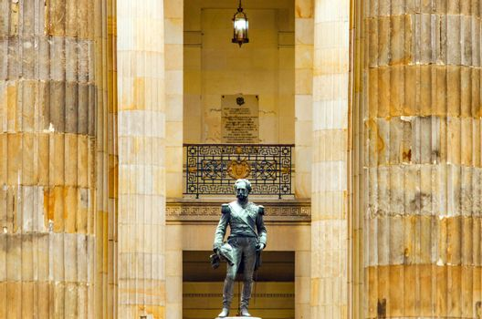 View of a statue within the senate building in Bogota, Colombia