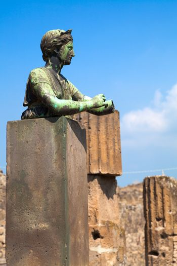 Statue of Diana with columns in Pompeii