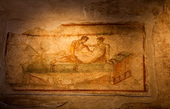 Two thousand years old roman antique erotic fresco in Pompeii, I