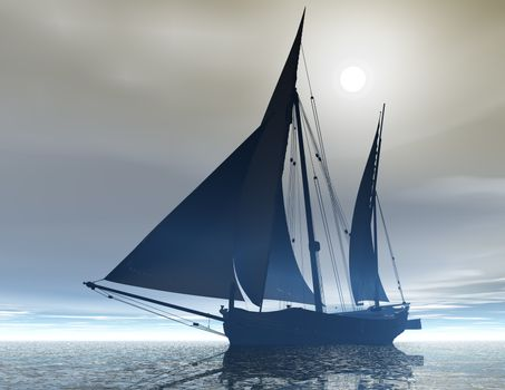 digital visualization of a sailing ship