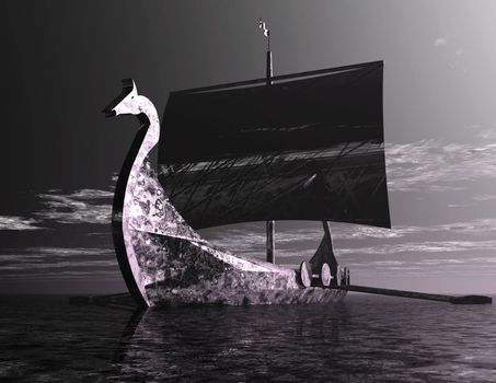Digital Illustration of a Viking Ship