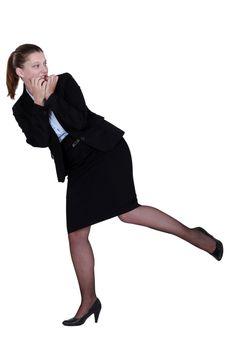 An apprehensive businesswoman