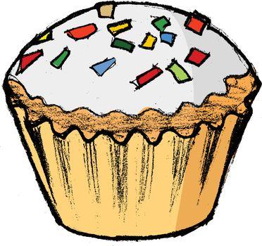 hand drawn, cartoon, sketch illustration of cupcake