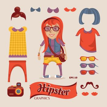 Hipster pretty girl with hipster accessories