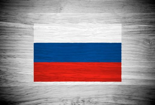 Russia flag on wood texture
