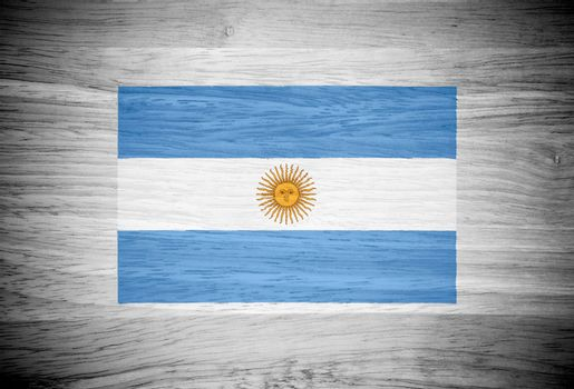 Argentina flag on wood texture