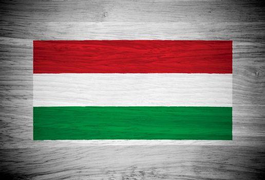 Hungary flag on wood texture
