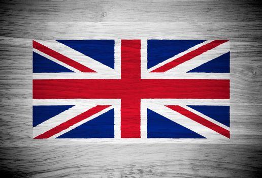 UK flag on wood texture