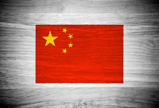China flag on wood texture
