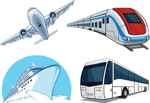 A vector set of 4 different transportation model : airplane, bus, cruise ship and train. This vector is very good for design that needs transportation or travel element.  Available as a Vector in EPS8 format that can be scaled to any size without loss of quality. Good for many uses & application. Elements could be separated for further editing. Color easily changed.