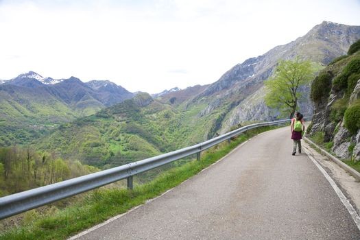 walking on road at Picos de Europa