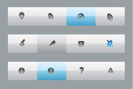 Buttons for education, science and technology. Vector illustration.