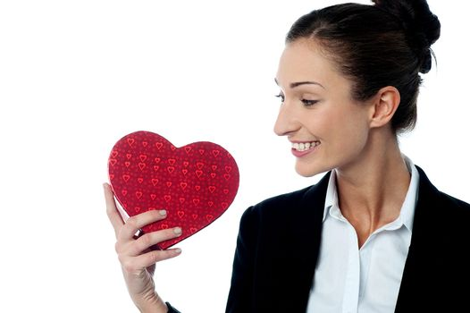 Businesswoman displaying her valentine gift