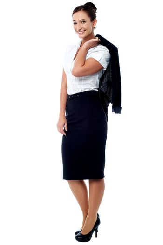 Woman with coat slung over her shoulder