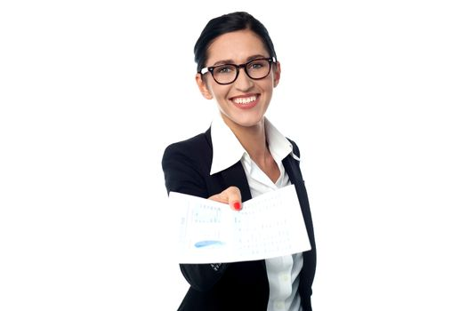 Corporate lady showing the documents