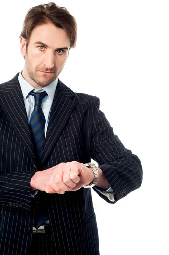 This is the right time! Serious businessman.