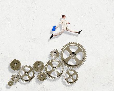 Businessman and mechanism elements