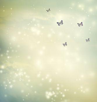 Butterflies in a fantasy sky