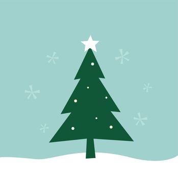 Merry Christmas greeting. Vector Tree Illustration