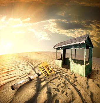 Bus stop in the desert