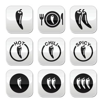 Chili peppers, hot and spicy food buttons set